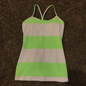 Great Lime Green & White Striped lululemon Tank